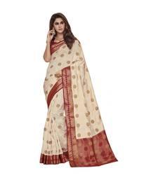 Buy White woven art dupion silk saree with blouse women-ethnic-wear online
