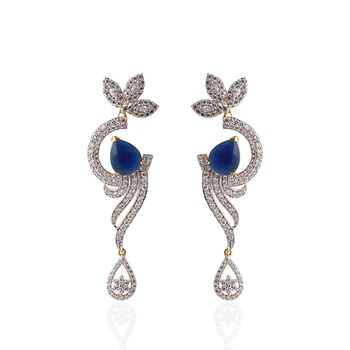 Heena Contemporary  drop shape blue stone  Earings > HJER12BL