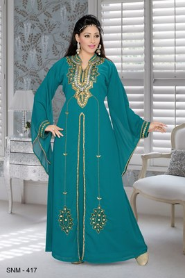Green embroidered faux georgette islamic kaftans