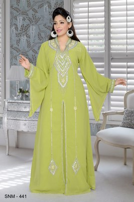 Parrot green embroidered faux georgette islamic kaftans