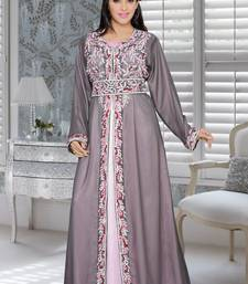 Grey And Baby Pink Satin Embroidered Faux Georgette Islamic Kaftans