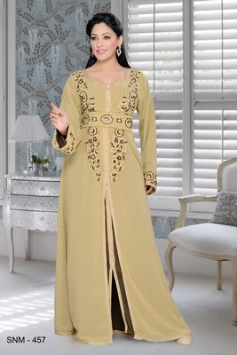 Beige And Brown Satin Embroidered Faux Georgette Islamic Kaftans