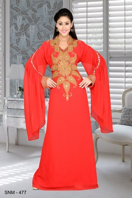 Red Embroidered Faux Georgette Islamic Kaftans