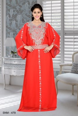 Red embroidered faux georgette farasha