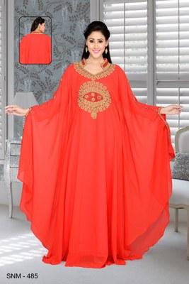 Red Embroidered Faux Georgette Farasha Kaftan