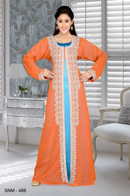 Orange And Turquoise Blue Satin Embroidered Faux Georgette Islamic Kaftans