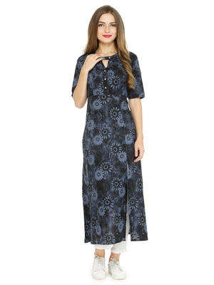 Indibelle Black printed cotton kurtas-and-kurtis