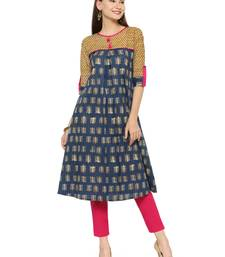Gold printed cotton kurtas-and-kurtis