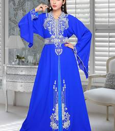 royal blue embroidered faux georgette islamic kaftans