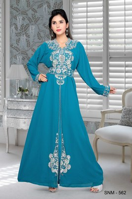 Turquoise Blue Embroidered Faux Georgette Islamic Kaftans