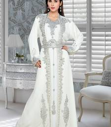 off white embroidered faux georgette islamic kaftans