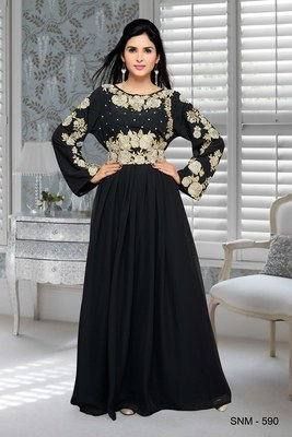 black embroidered faux georgette islamic kaftans