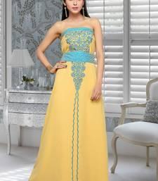 Buy beige embroidered faux georgette fustan fustan online