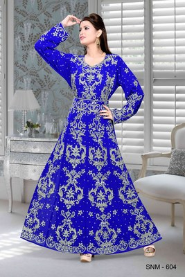 Royal Blue Embroidered Faux Georgette Islamic Kaftan