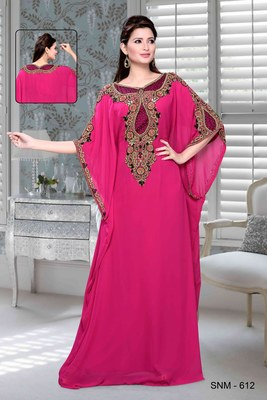 Fuchsia Pink Embroidered Faux Georgette Farasha