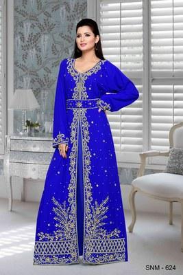 Royal Blue Embroidered Faux Georgette Islamic Kaftan
