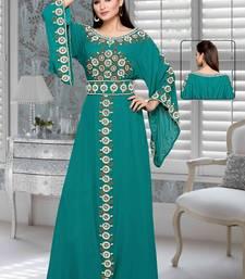 Buy Teal green embroidered faux georgette islamic kaftan islamic-kaftan online