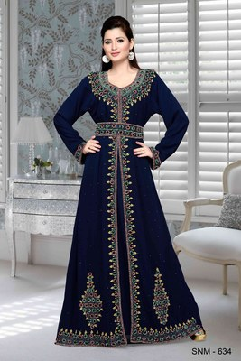 Navy Blue Embroidered Faux Georgette Islamic Kaftan
