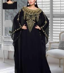Buy Black embroidered faux georgette farasha farasha online