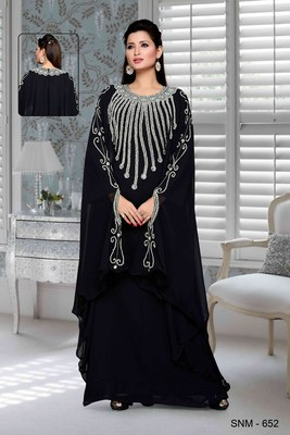 Black Embroidered Faux Georgette Farasha Kaftan
