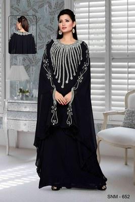 Black embroidered faux georgette farasha kaftan