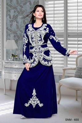 Royal blue embroidered velvet islamic kaftan
