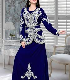 Royal Blue Embroidered Velvet Islamic Kaftan