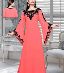 Buy Coral embroidered faux georgette islamic kaftan islamic-kaftan online