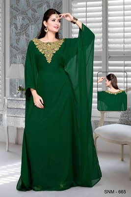 Bottle Green Embroidered Faux Georgette Farasha Kaftan