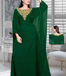 Buy Bottle green embroidered faux georgette farasha farasha online