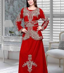 Red Embroidered Velvet Islamic Kaftan