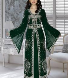 Buy Bottle green embroidered faux georgette islamic kaftan islamic-kaftan online