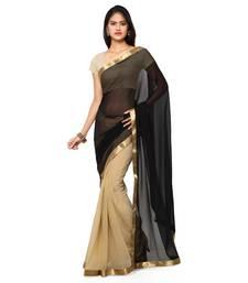 Buy Black plain chiffon saree with blouse all-seasons-saree online