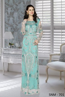 sea green embroidered Net and Satin islamic kaftans