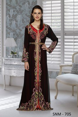 Black And Red Satin Embroidered Faux Georgette And Satin Islamic Kaftans