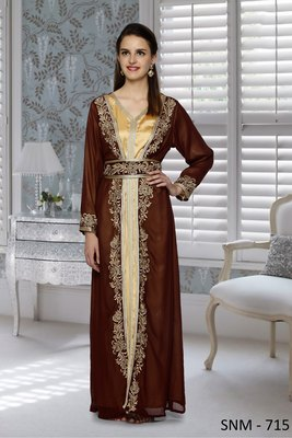 Brown And Golden Satin Embroidered Faux Georgette And Satin Islamic Kaftans