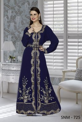 Navy Blue Embroidered Faux Georgette Islamic Kaftans