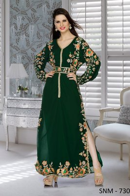 bottle green embroidered Faux Georgette islamic kaftans