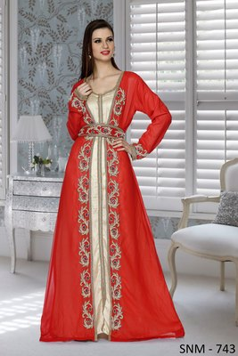 Red And Golden Satin Embroidered Faux Georgette And Satin Islamic Kaftans