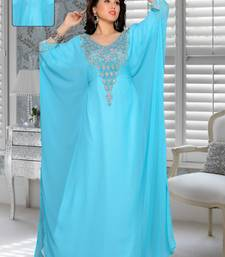 Blue Embroidered Faux Georgette Farasha Kaftan