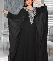 Black Embroidered Faux Georgette Farasha