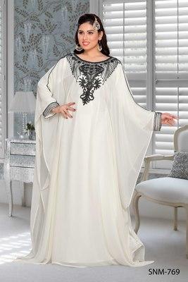 Off White Embroidered Faux Georgette Farasha