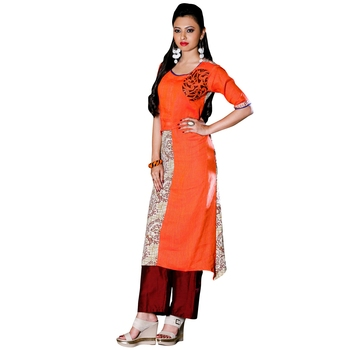 Orange embroidered cotton stitched kurti