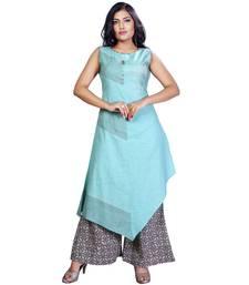 Blue plain jute cotton salwar