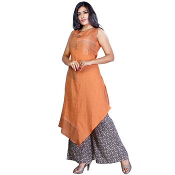 Orange plain jute cotton salwar