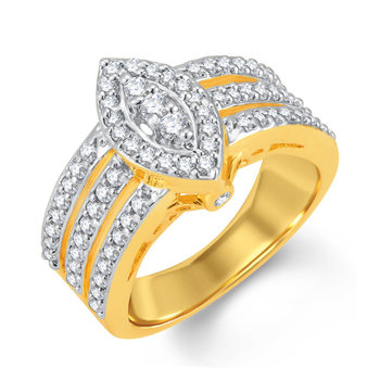 Delightly Gold and Rhodium Plated Cubic Zirconia Ring