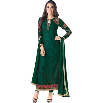 Green Georgette Embroidered Salwar Suit For Women