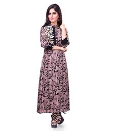 Buy Brown embroidered rayon stitched kurti kurtas-and-kurti online