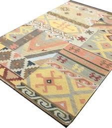 Buy EXPORT QUALITY HANDMADE WOLLEN DARI (RUGS)  for center table,bedroom 4x6 feet 120x155 CM-PATACH DESGIN carpet online