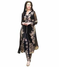 Buy Black Embroidery Georgette semi stiched salwar suit with dupatta palazzo online